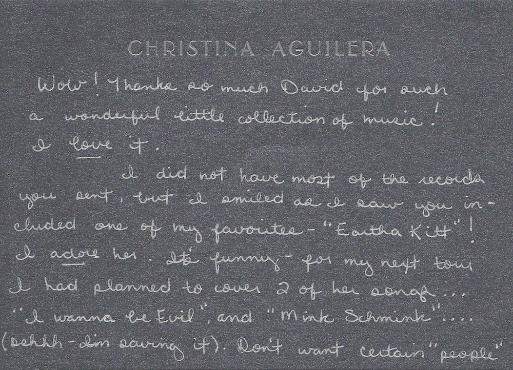 Christina Aguilera handwriting