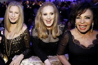 3 Divas at the Oscar Party: Barbra, Adele and Shirley Bassey