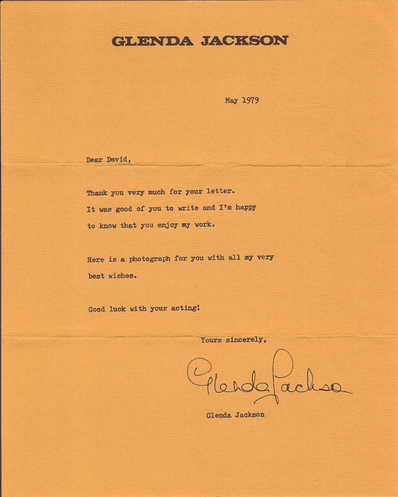 Glenda Jackson letter