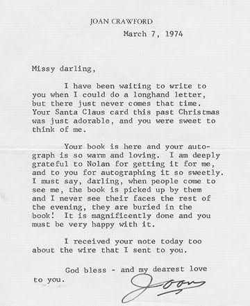 Joan Crawford Letter to Barbara Stanwyck