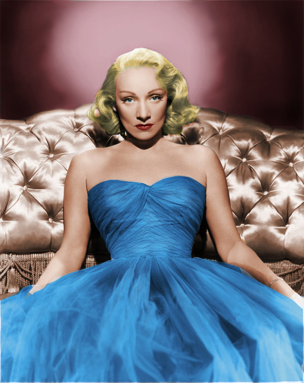 Marlene Dietrich blue dress