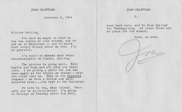 Joan Crawford letter 1964