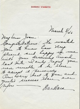 Barbara Stanwyck letter