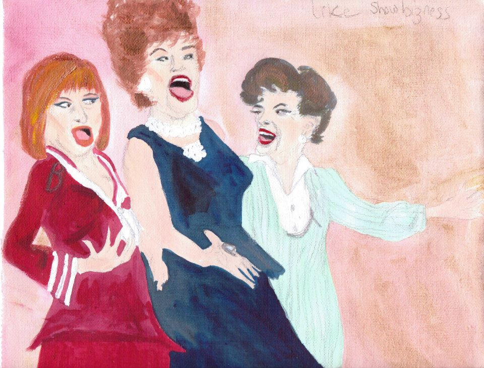 Ethel Merman, Judy Garland, Barbra Streisand illustration