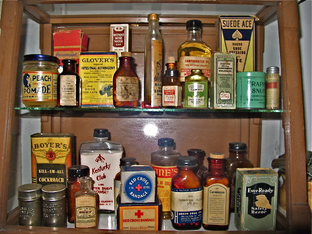 Vintage pharmacy and grooming products