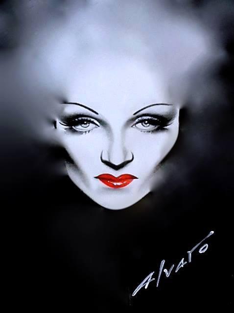 Marlene Dietrich painting