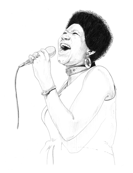Aretha Franklin illustration by Martin Echeverria, behance.net