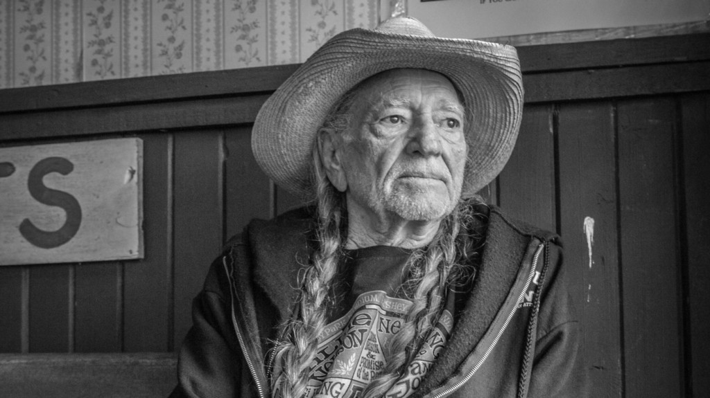 Willie Nelson black and white portrait