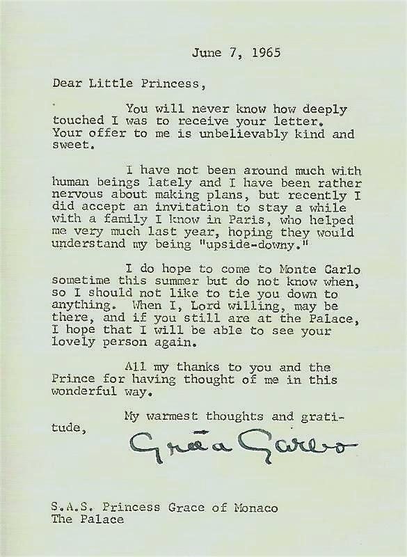 Greta Garbo letter